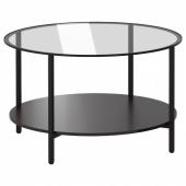 ВИТШЁ Журнальный стол,черно-коричневый,стекло