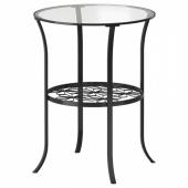 КЛИНГСБУ Придиванный столик,черный,прозрачное стекло