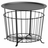 ГУАЛЁВ Столик с отделениями д/хранения, черный, 60 см