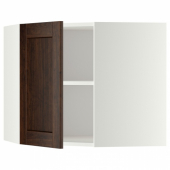 МЕТОД Угловой навесной шкаф с полками, белый, Эдсерум коричневый, 68x60 см